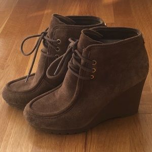 Michael Kors Rory Suede Wedge Lace Up Booties